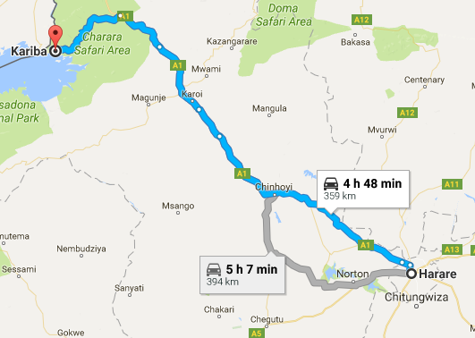 Harare to Kariba Route